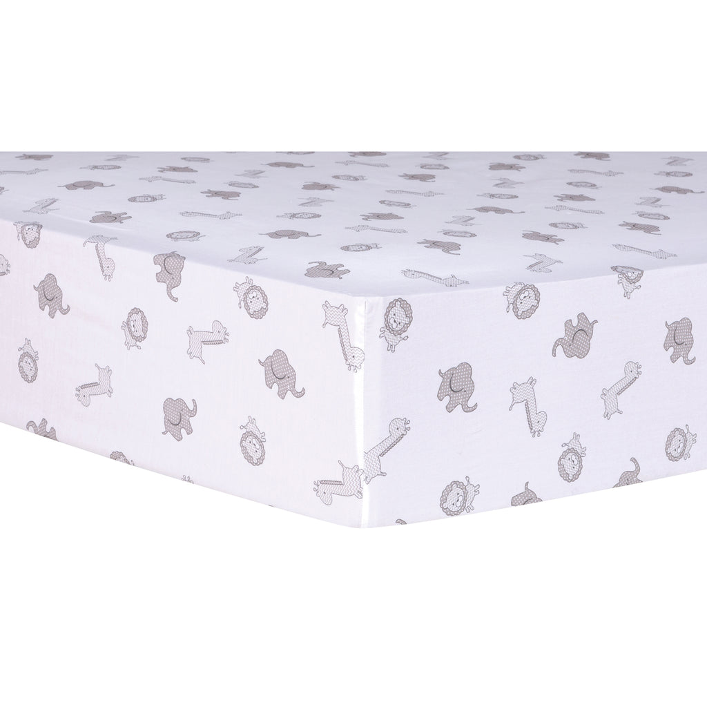 Safari Chevron Animals Fitted Crib Sheet101126$17.99Trend Lab