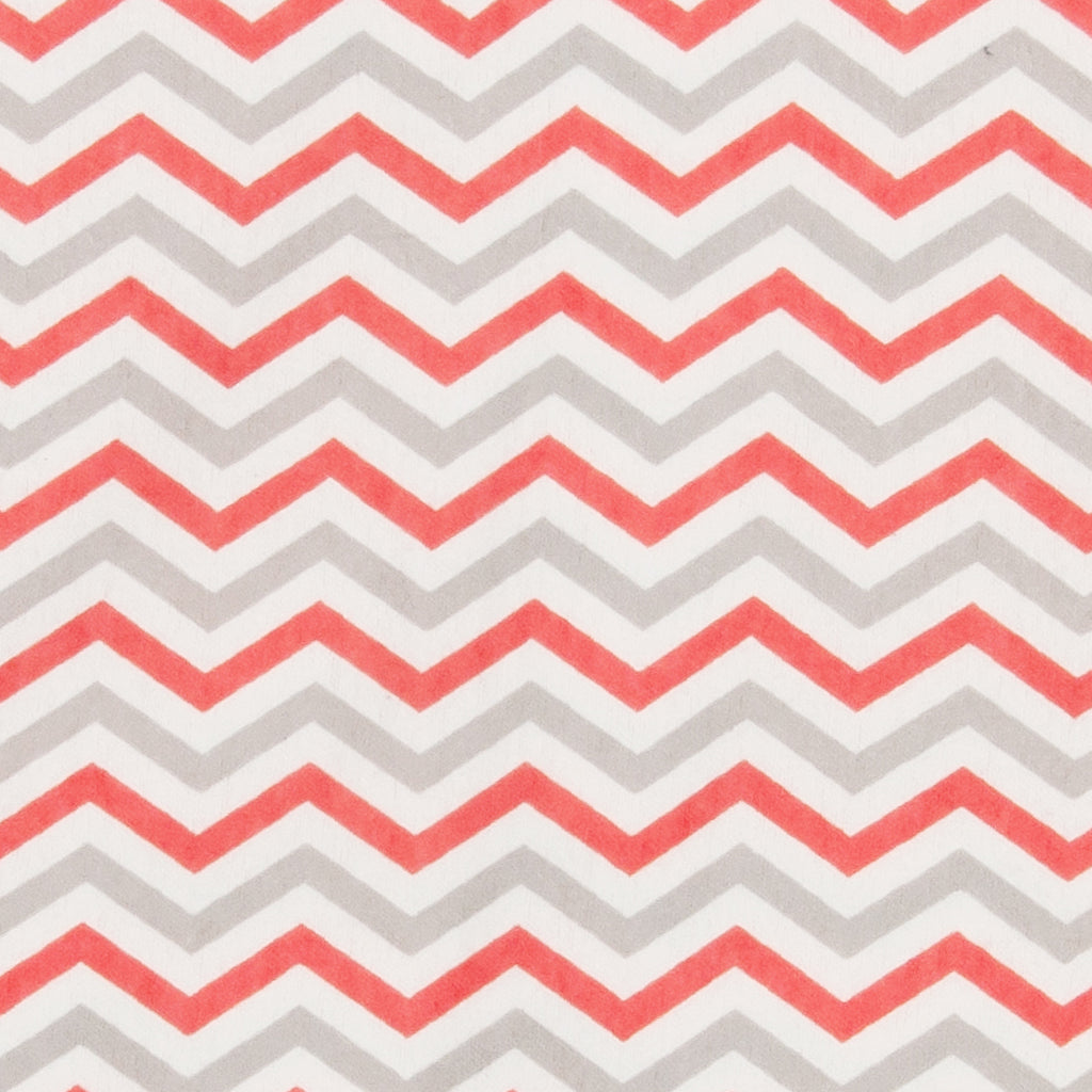 Coral and Gray Chevron Deluxe Flannel Fitted Crib Sheet