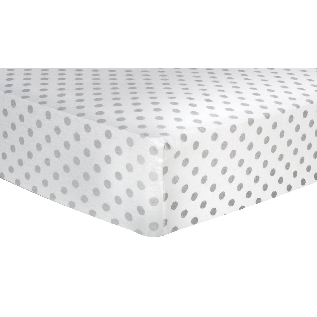 Gray Dot Deluxe Flannel Fitted Crib Sheet Trend Lab, LLC