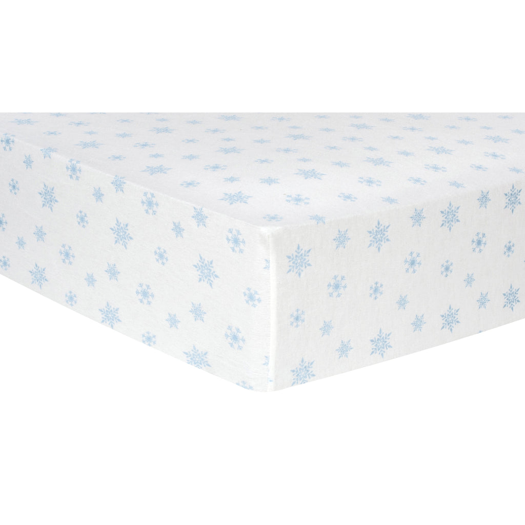 Blue Snowflakes Deluxe Flannel Fitted Crib Sheet Trend Lab, LLC