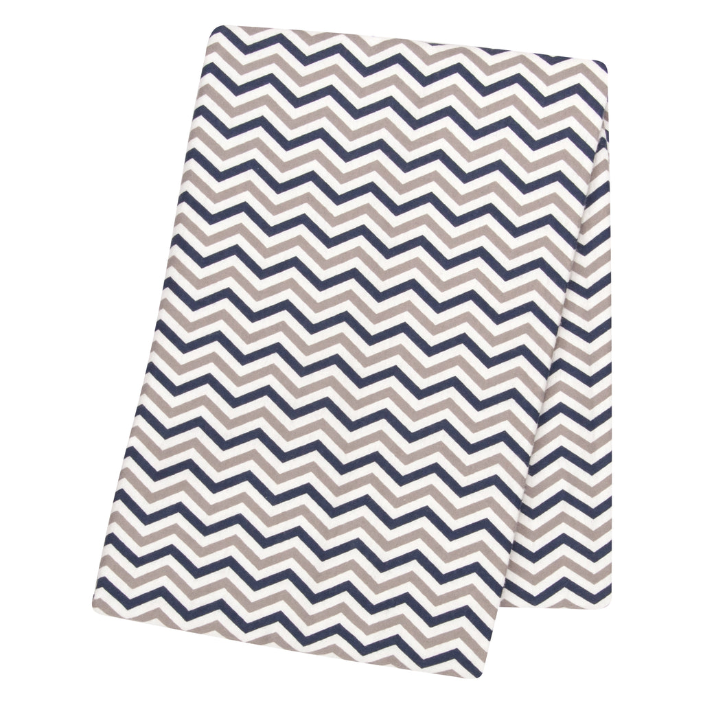 Navy & Gray Chevron Flannel Swaddle Blanket