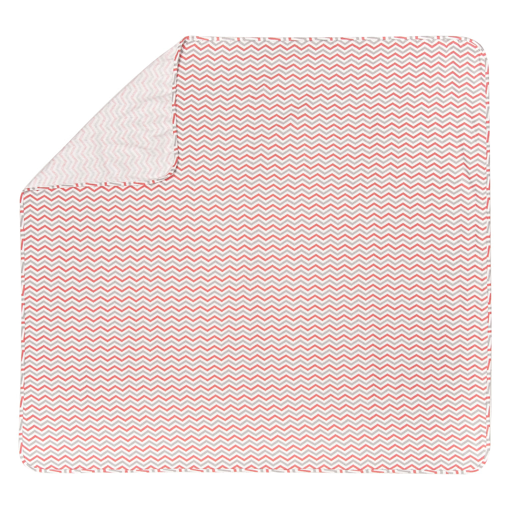 Coral & Gray Flannel Swaddle Blanket