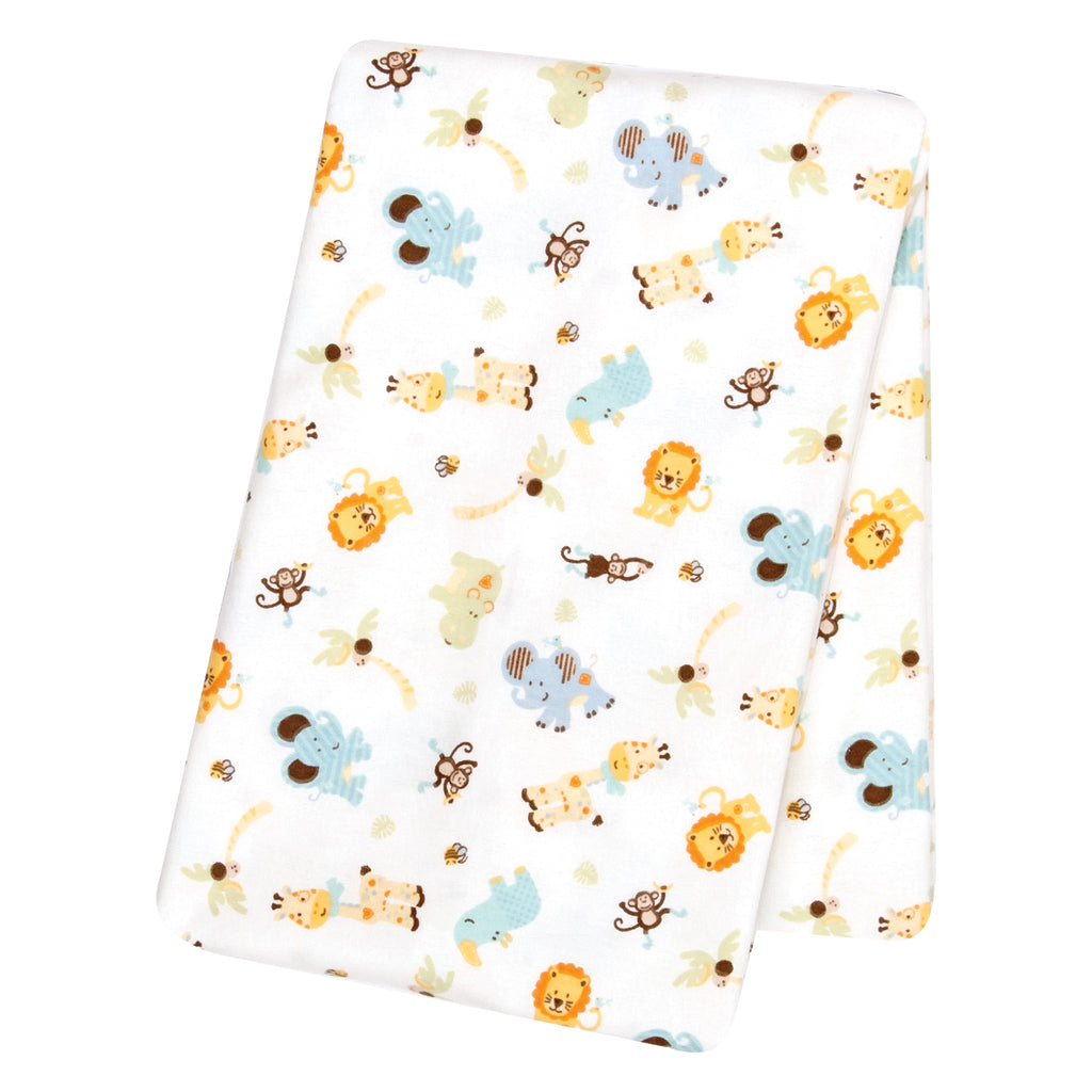 Jungle Friends Flannel Swaddle Blanket