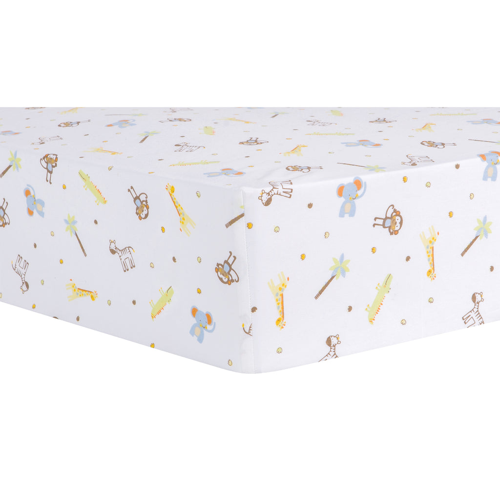 Jungle Fun Animal Fitted Crib Sheet