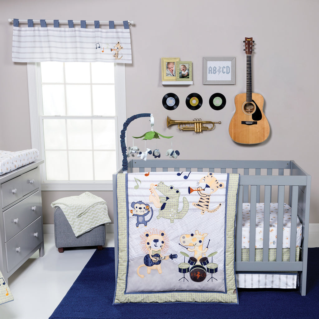Safari Rock Band 6 Piece Crib Bedding Set