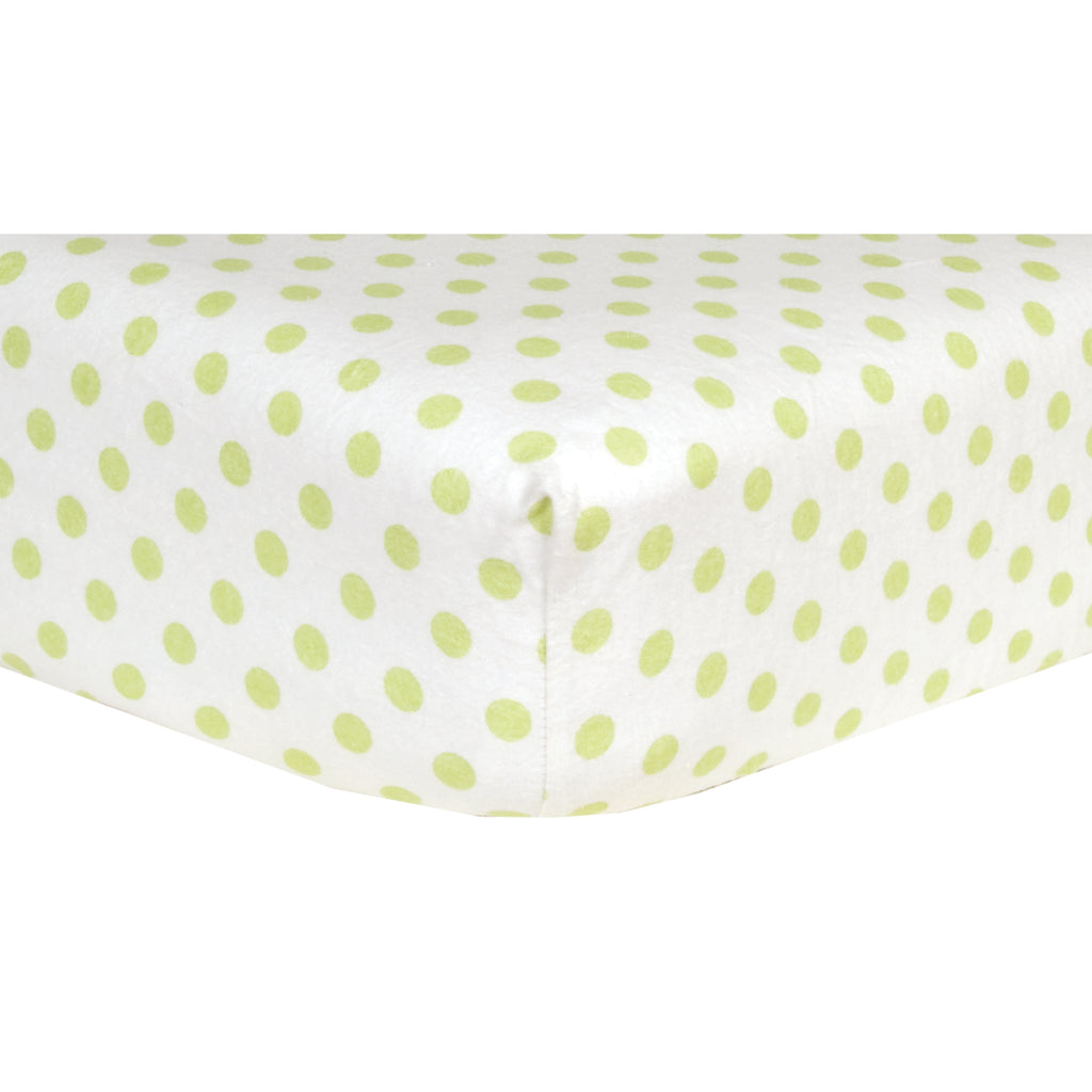 Sage Green and White Dot Deluxe Flannel Fitted Crib Sheet Trend Lab, LLC