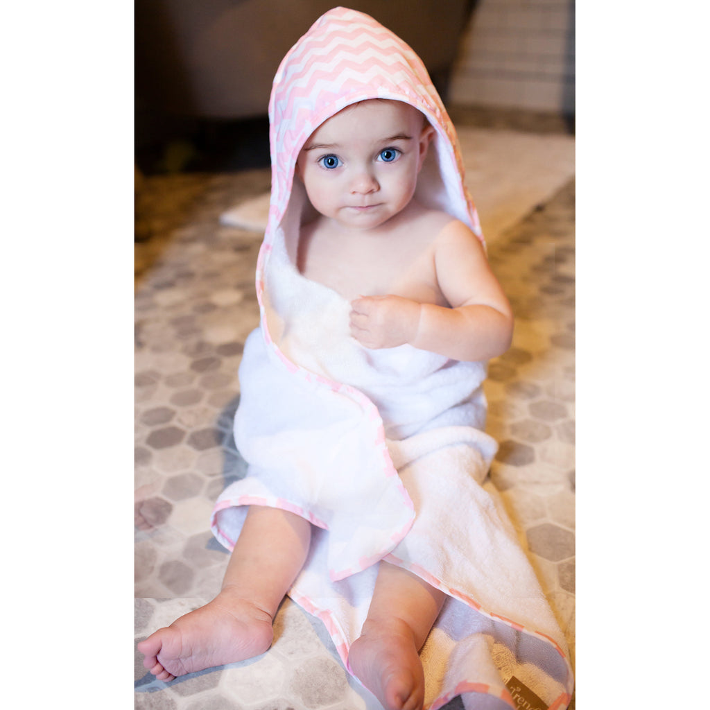 Pink Sky Chevron Hooded Towel