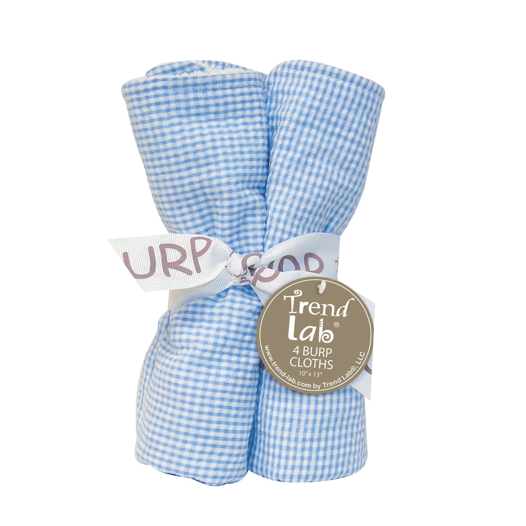 Gingham Seersucker Blue 4 Pack Burp Cloth Set