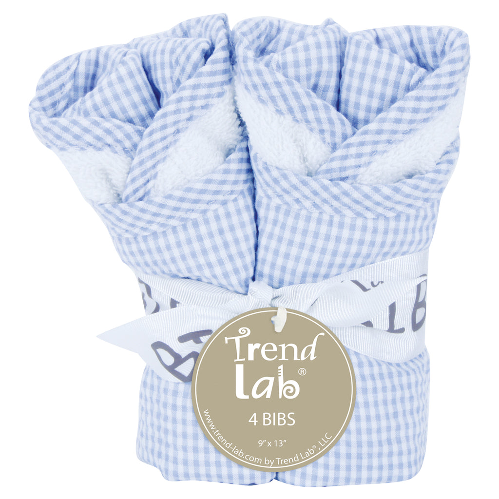 Gingham Seersucker Blue 4 Pack Bib Set