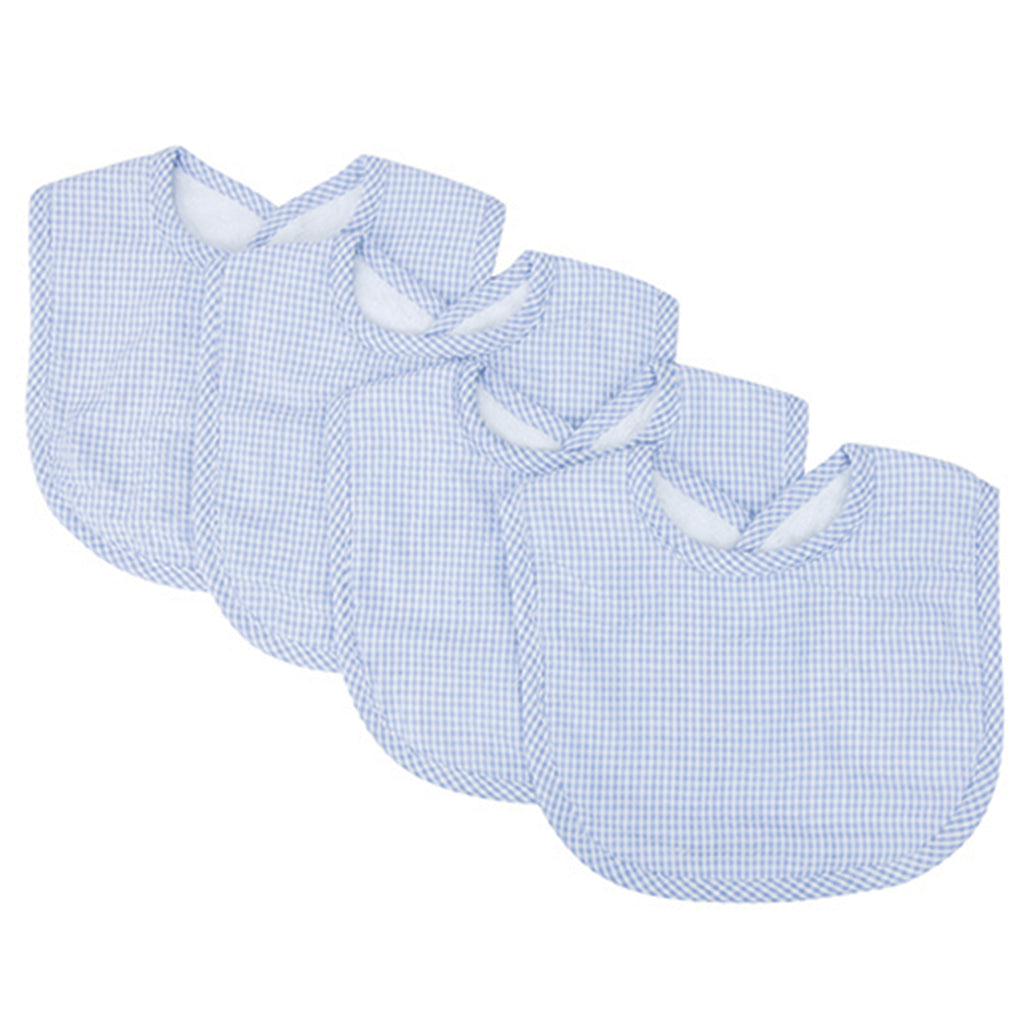 Gingham Seersucker Blue 4 Pack Bib Set Trend Lab, LLC