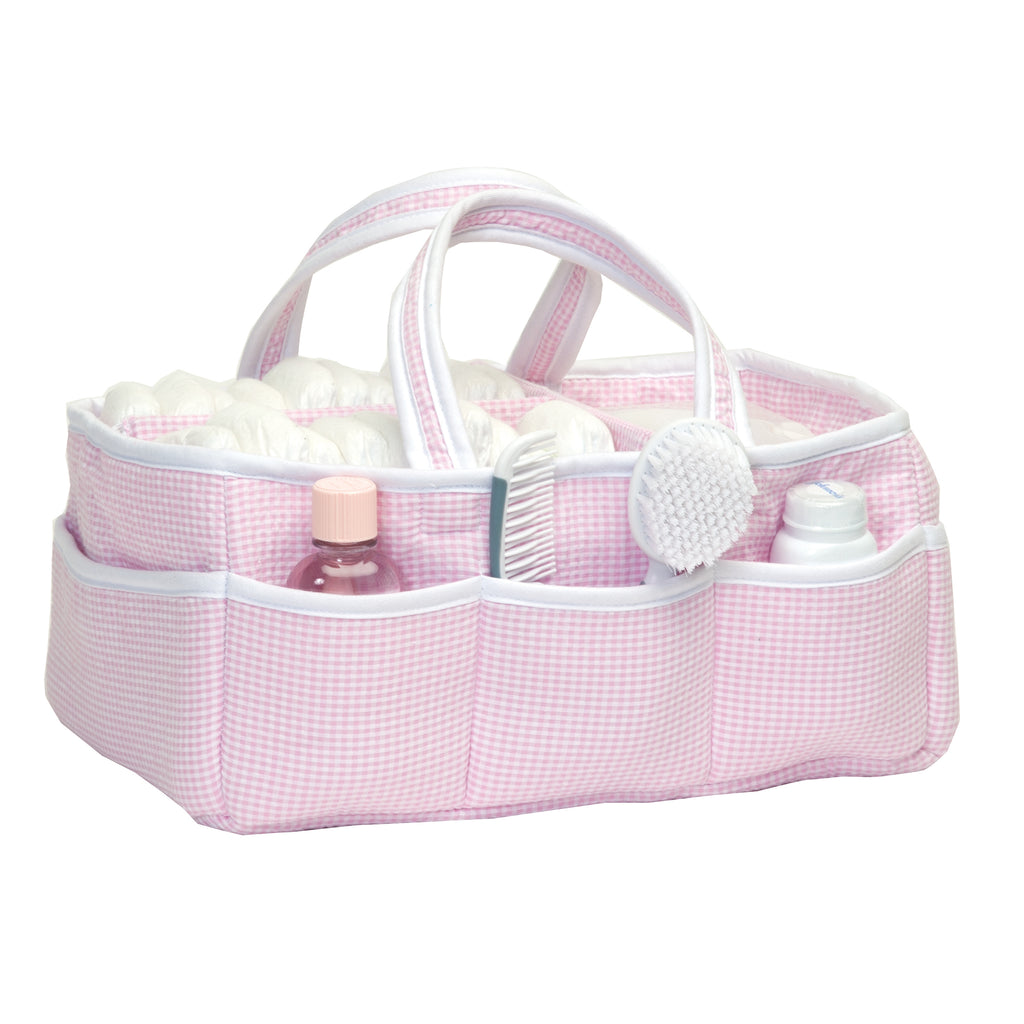 Gingham Seersucker Pink Storage Caddy