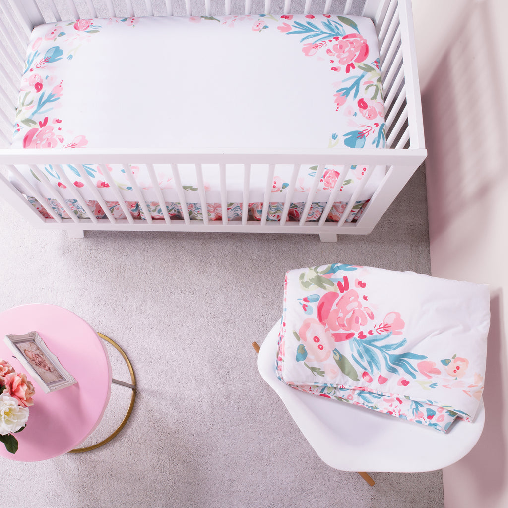 My Tiny Moments™ Painterly Floral Photo Op Fitted Crib Sheet