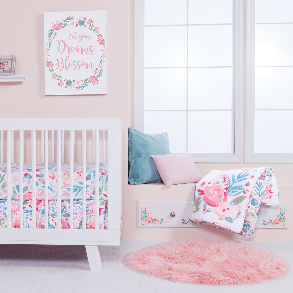Painterly Floral 3 Piece Crib Bedding Set Trend Lab, LLC