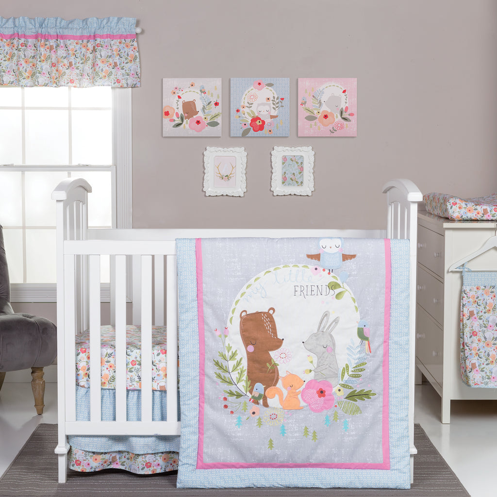 My Little Friends 6 Piece Crib Bedding Set