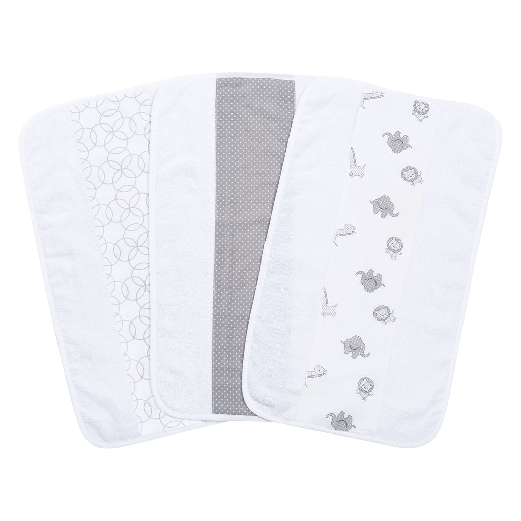 Safari Gray 3 Pack Jumbo Burp Cloth Set102593$12.99Trend Lab