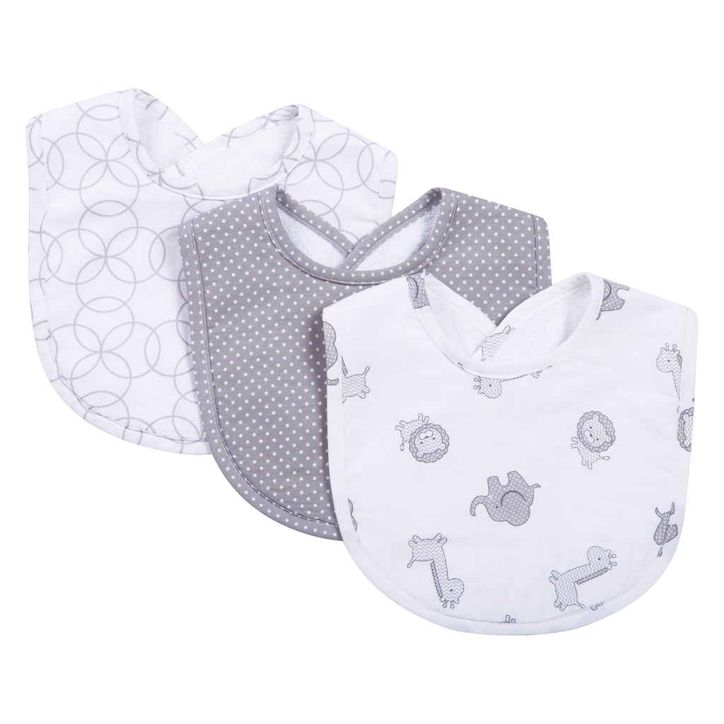 Safari Gray 3 Pack Bib Set Trend Lab, LLC