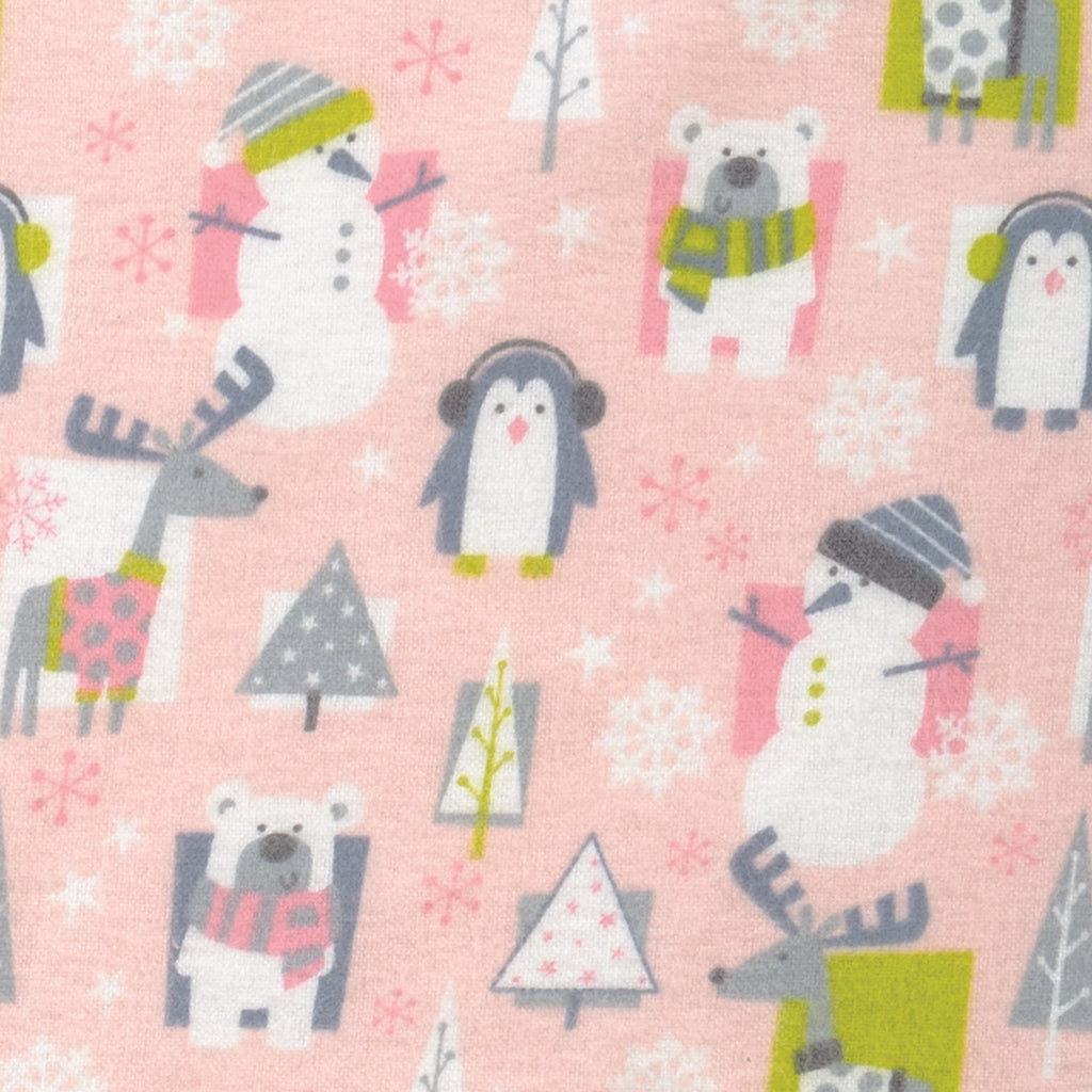 Snow Pals Pink Deluxe Flannel Fitted Crib Sheet Trend Lab, LLC