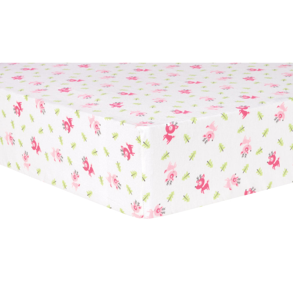 Pink Reindeer Deluxe Flannel Fitted Crib Sheet Trend Lab, LLC