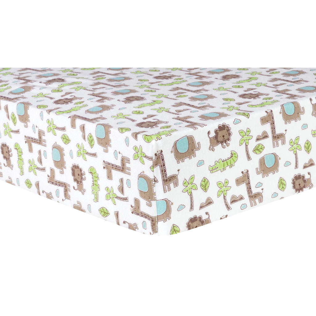 Sage Safari Animals Deluxe Flannel Fitted Crib Sheet Trend Lab, LLC