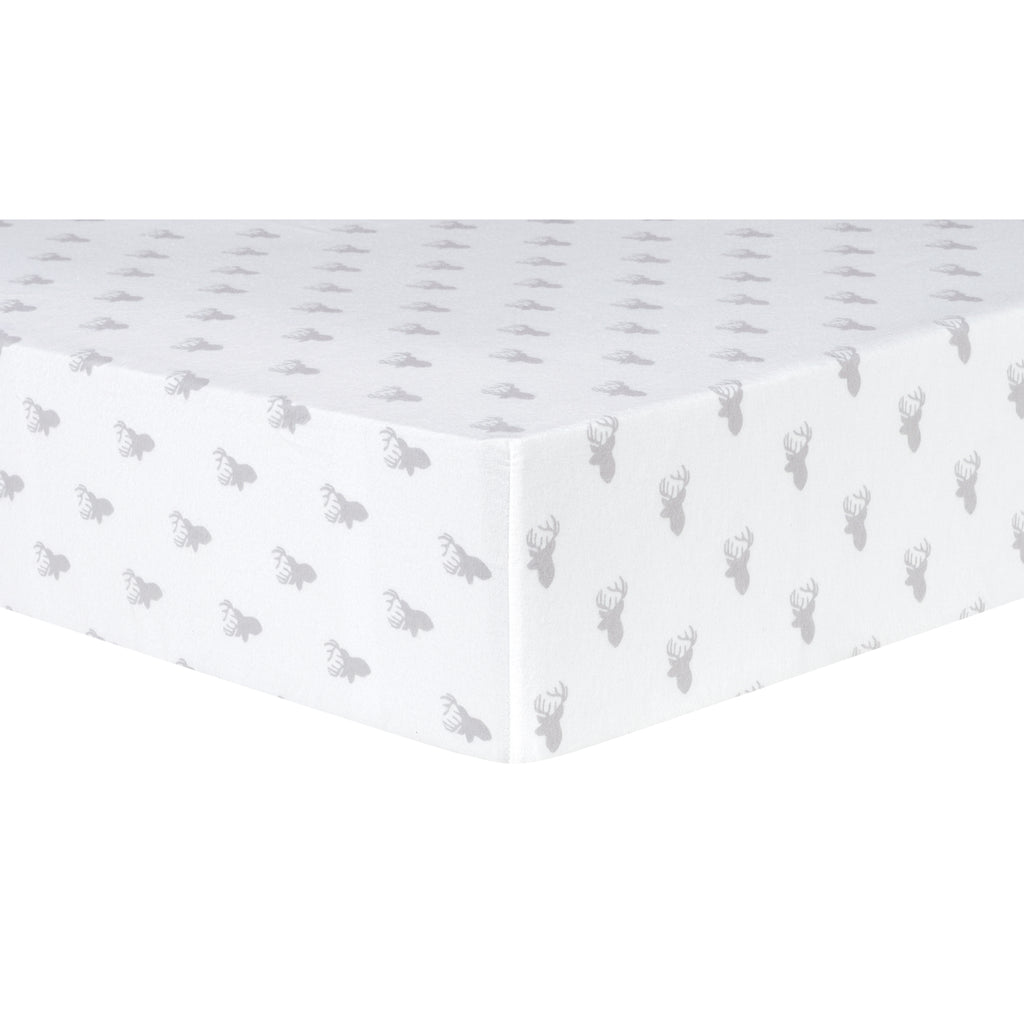 Gray Stag Silhouettes Deluxe Flannel Fitted Crib Sheet Trend Lab, LLC