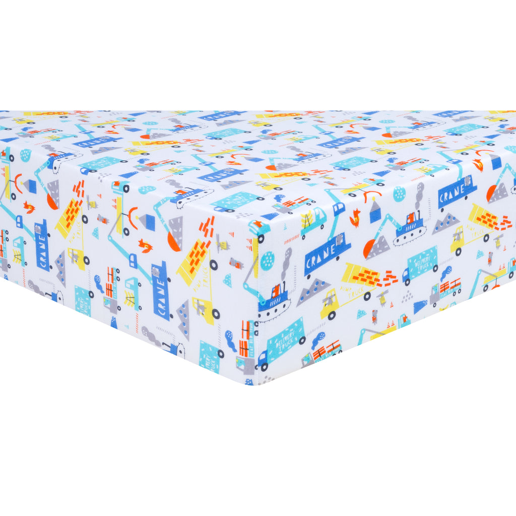 Construction Digger Jersey Fitted Crib Sheet102804$17.99Trend Lab
