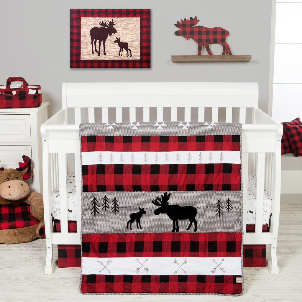 Lumberjack Moose 3 Piece Crib Bedding Set Trend Lab, LLC