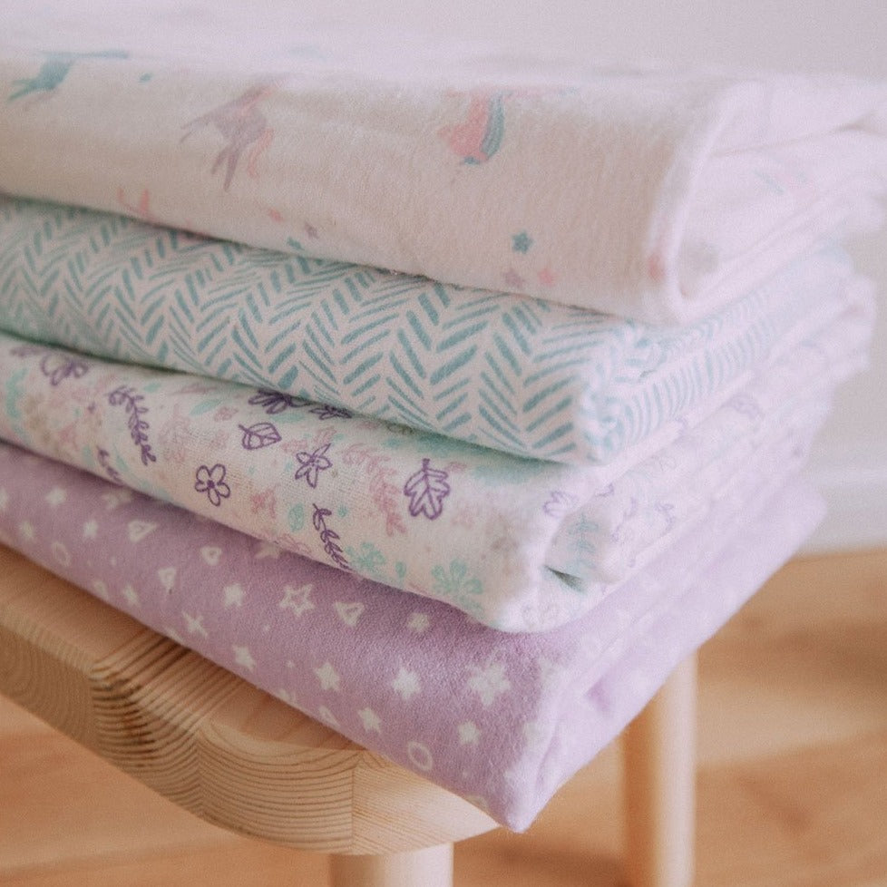 Unicorns and Flowers 4 Pack Flannel Blankets