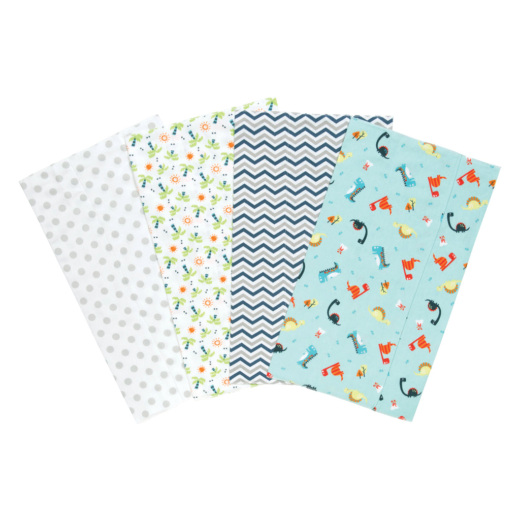 Dinosaur 4 Pack Flannel Burp Cloth Set Trend Lab, LLC