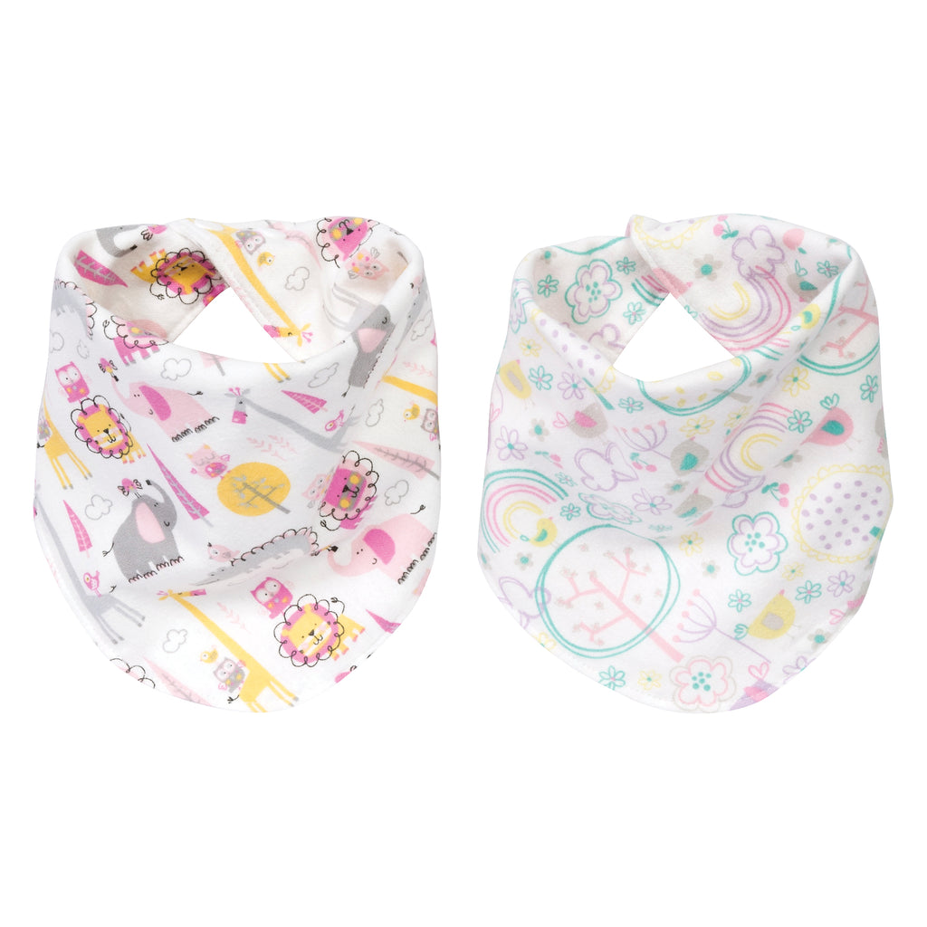 Pink Safari 2 Pack Reversible Flannel Bandana Bib Set