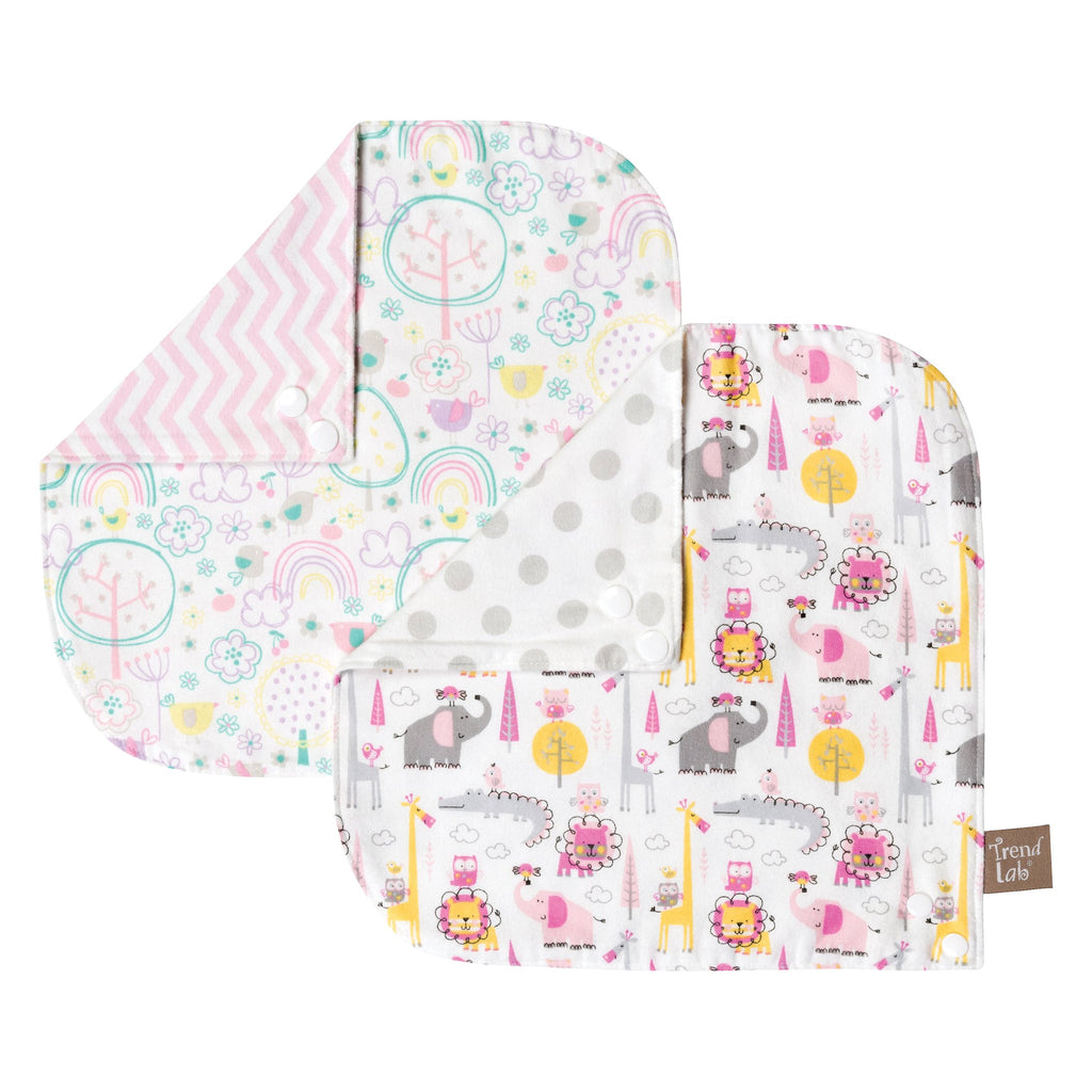 Pink Safari 2 Pack Reversible Flannel Bandana Bib Set Trend Lab, LLC