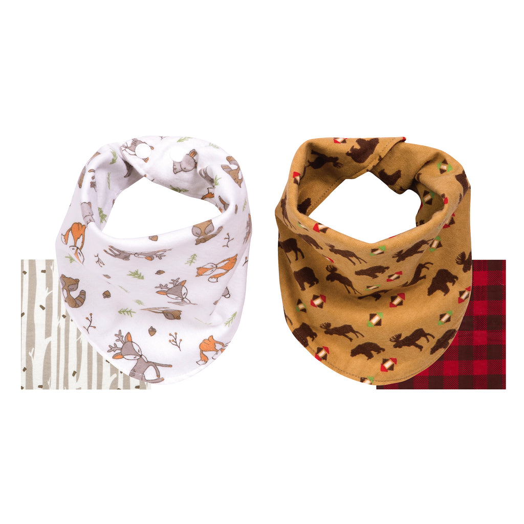Northwoods 2 Pack Reversible Flannel Bandana Bib Set