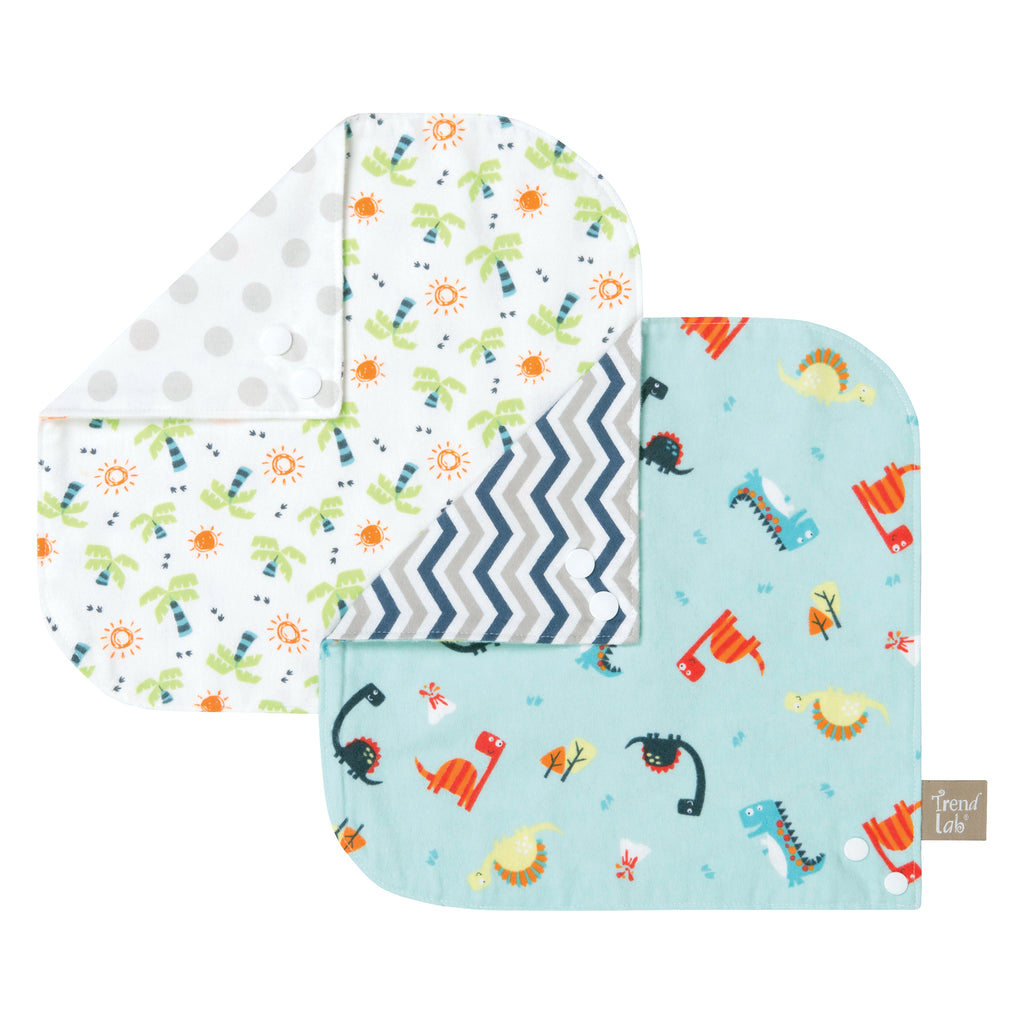 Dinosaur 2 Pack Reversible Flannel Bandana Bib Set Trend Lab, LLC