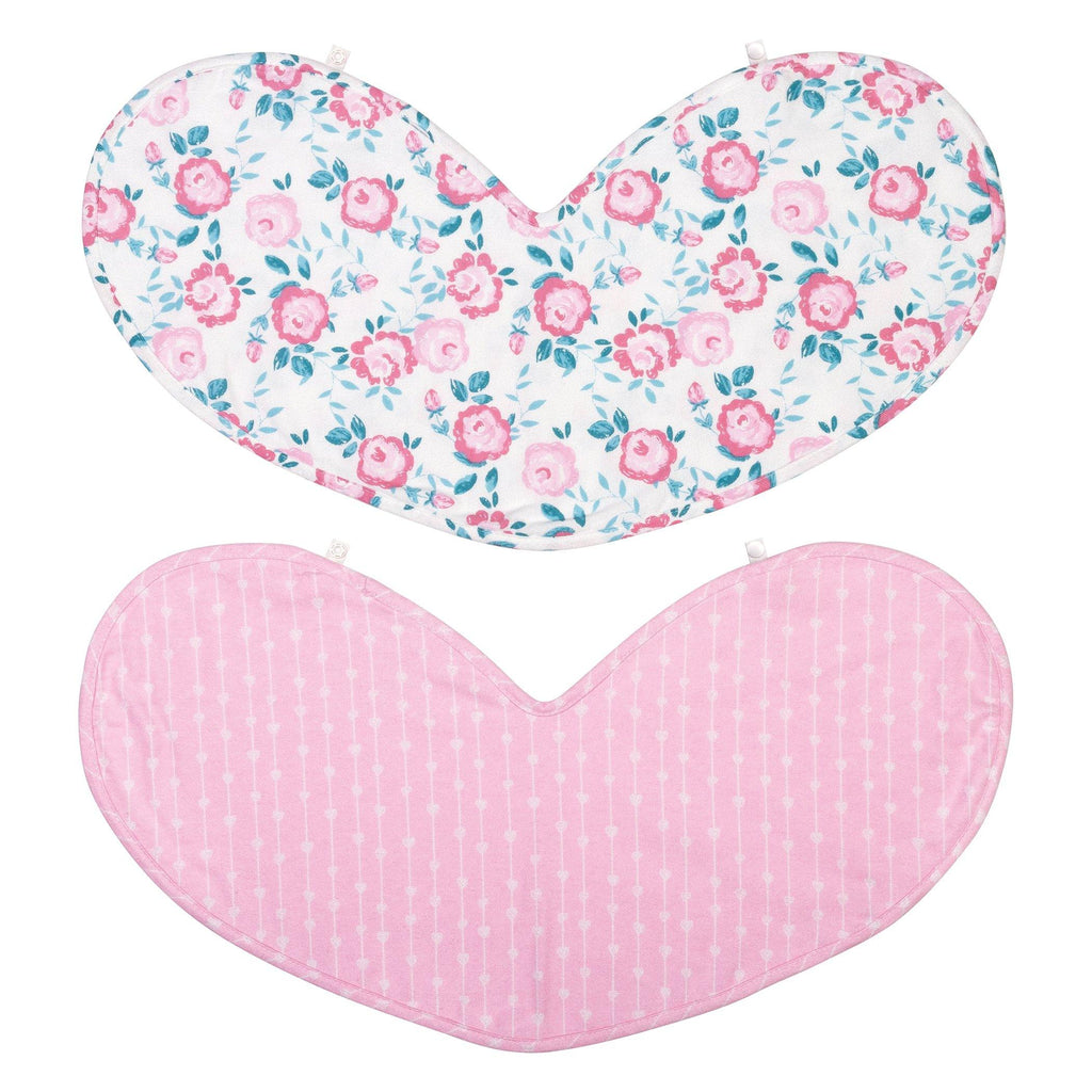 2 Pack Heart Shaped 100% Cotton Multi-Use Bib Burp Cloth Trend Lab, LLC