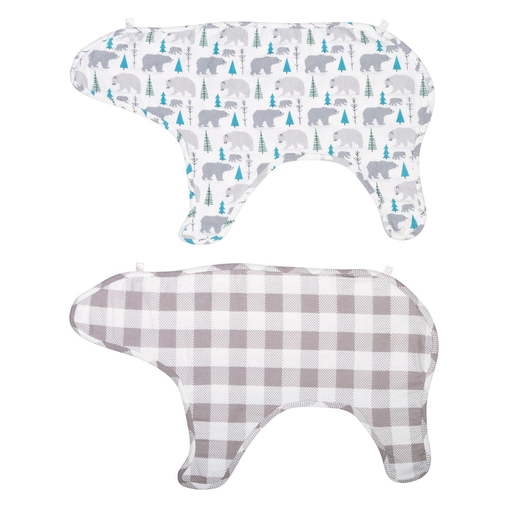 2 Pack Bear Shaped 100% Cotton Flannel Multi-Use Bib Burp Cloth Trend Lab, LLC