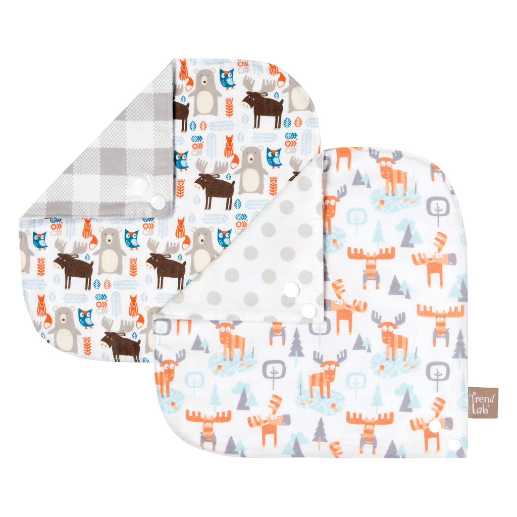 Scandi Moose 2 Pack Reversible Flannel Bandana Bib Set102971$9.99Trend Lab