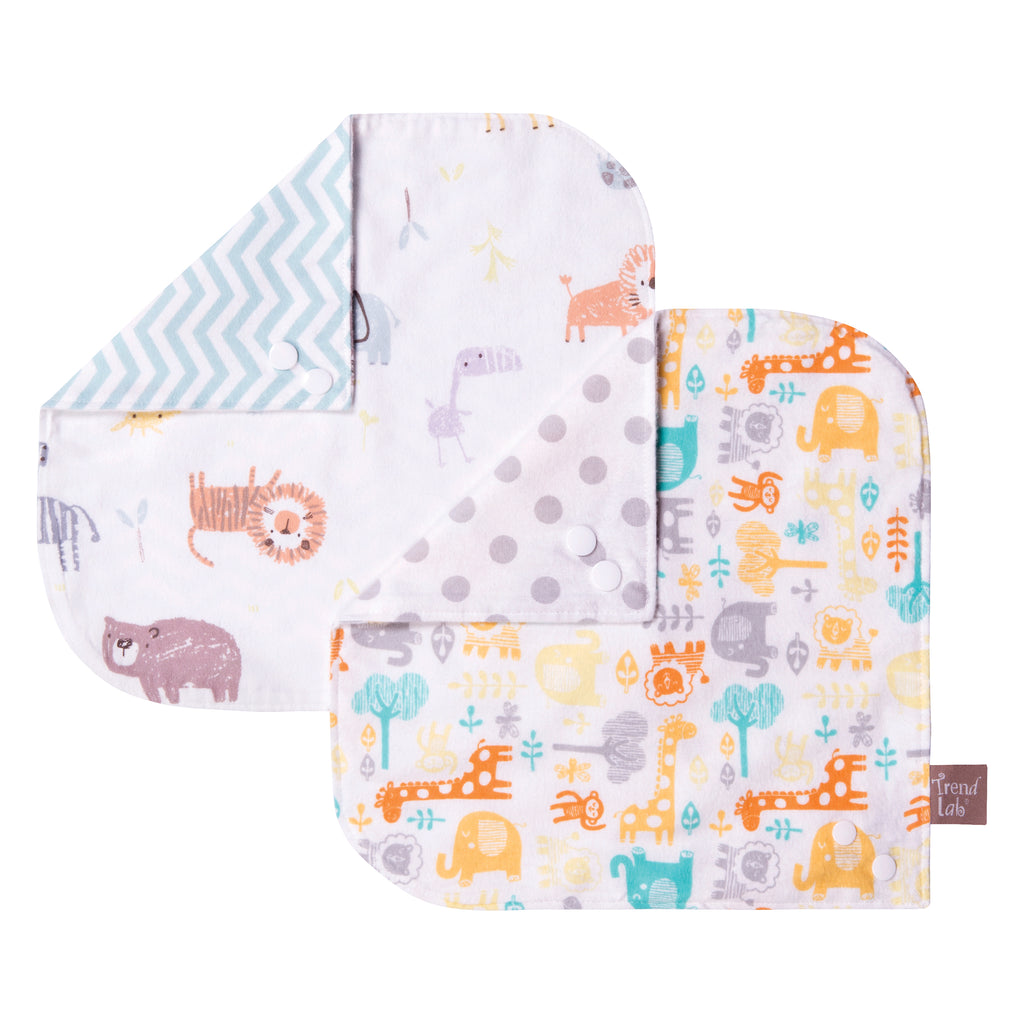 Mint Jungle 2 Pack Reversible Flannel Bandana Bib Set Trend Lab, LLC
