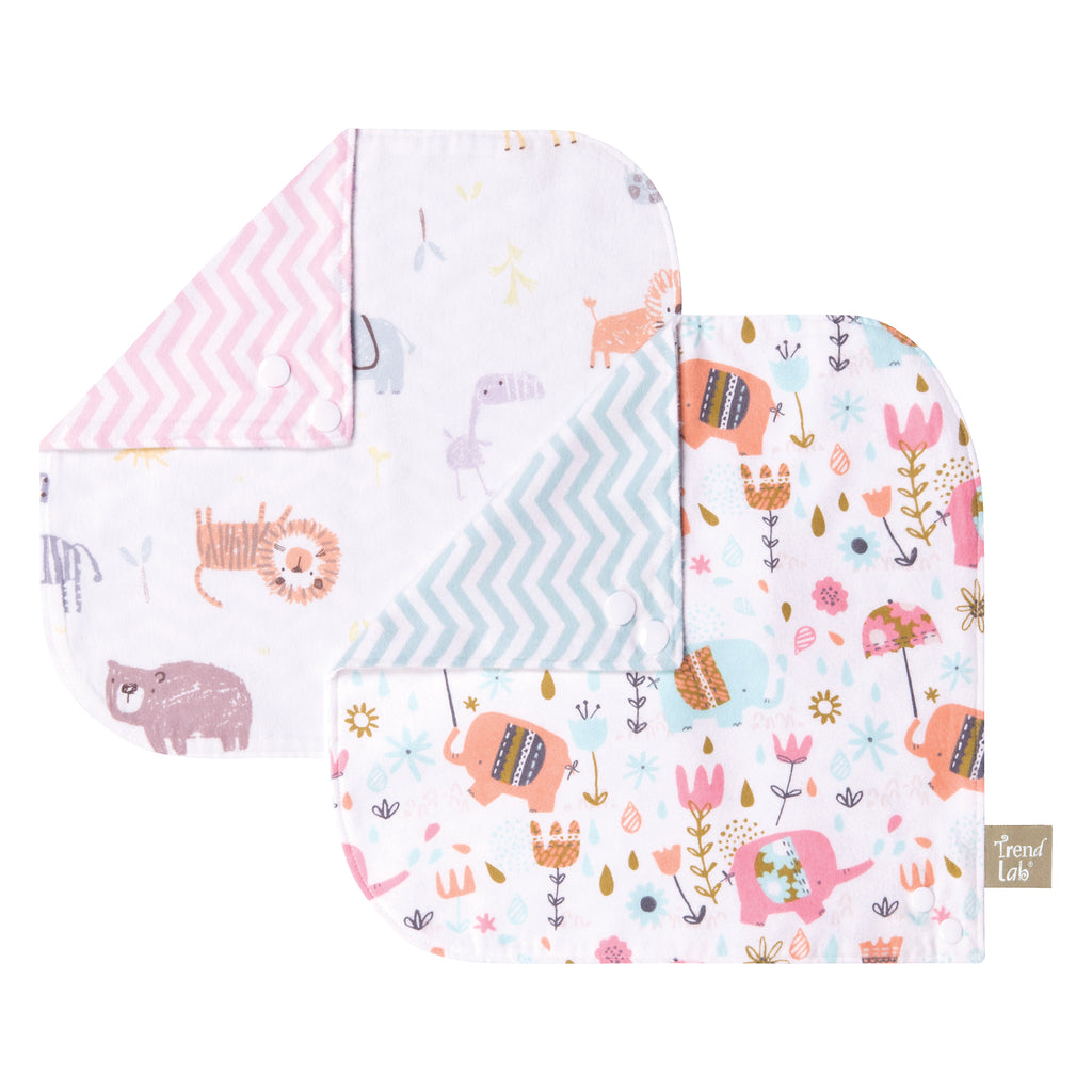 Elephant Jungle 2 Pack Reversible Flannel Bandana Bib Set Trend Lab, LLC