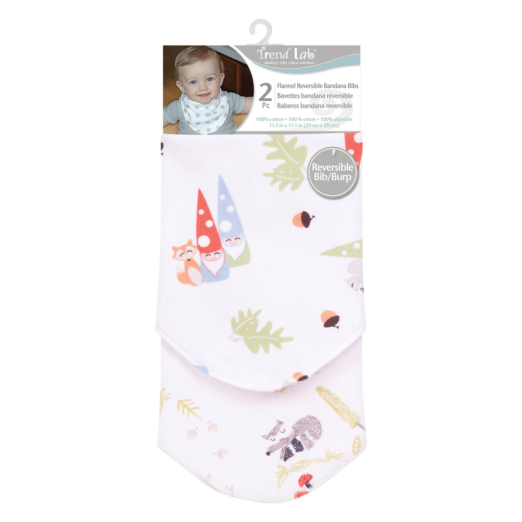 Woodsy Gnomes 2 Pack Reversible Flannel Bandana Bib Set Trend Lab, LLC