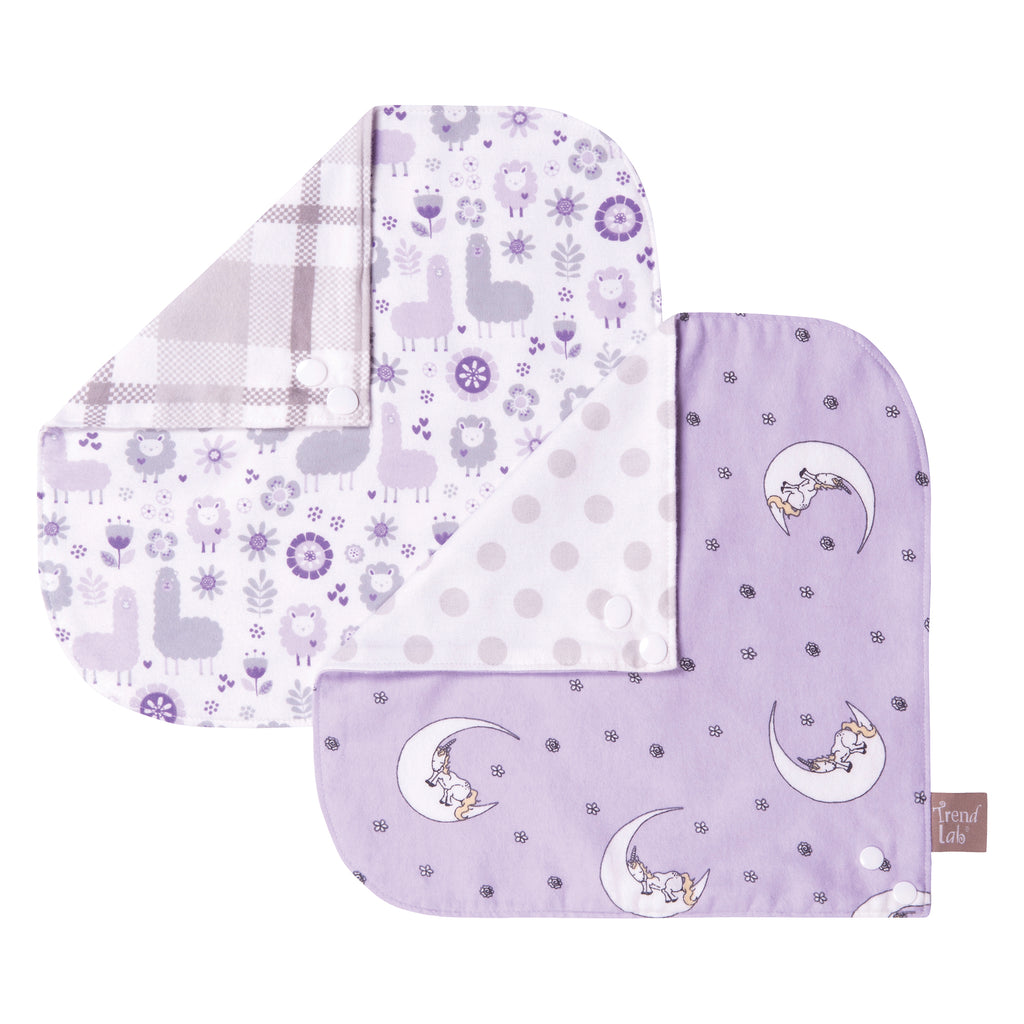Llamas and Unicorns 2 Pack Reversible Flannel Bandana Bib Set Trend Lab, LLC