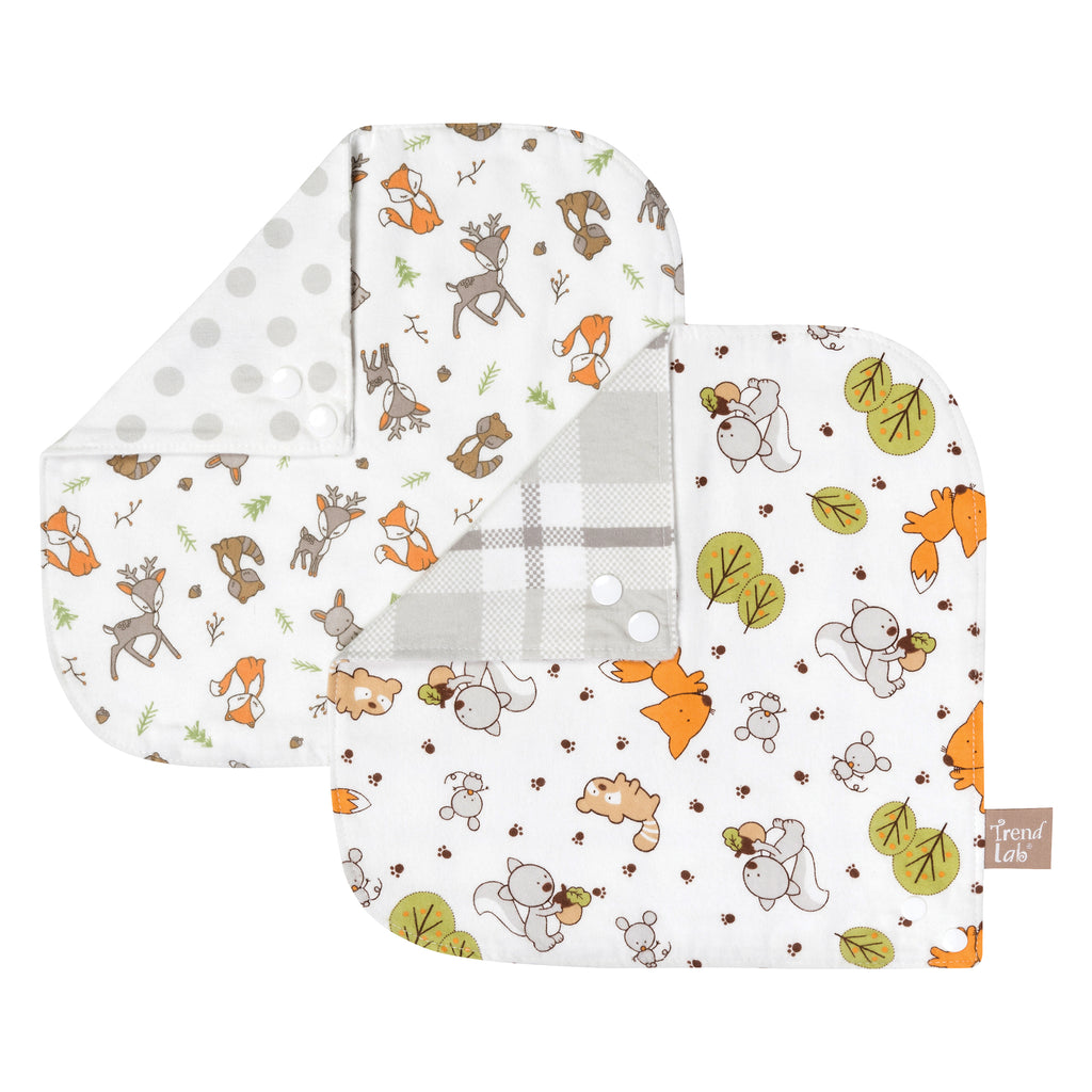 Forest Bunch 2 Pack Reversible Flannel Bandana Bib Set Trend Lab, LLC