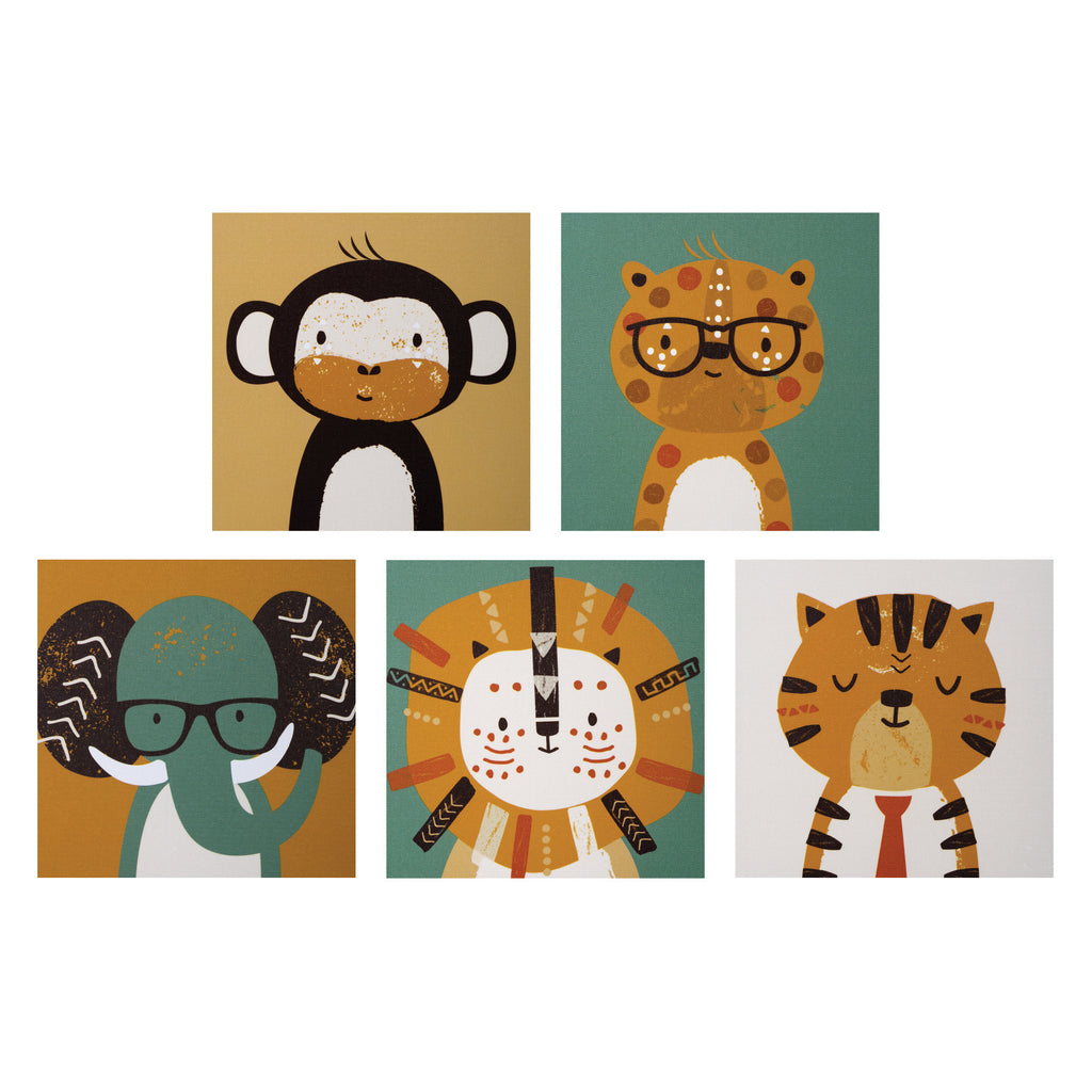 Safari Portraits Canvas Wall Art 5 Pack Trend Lab, LLC