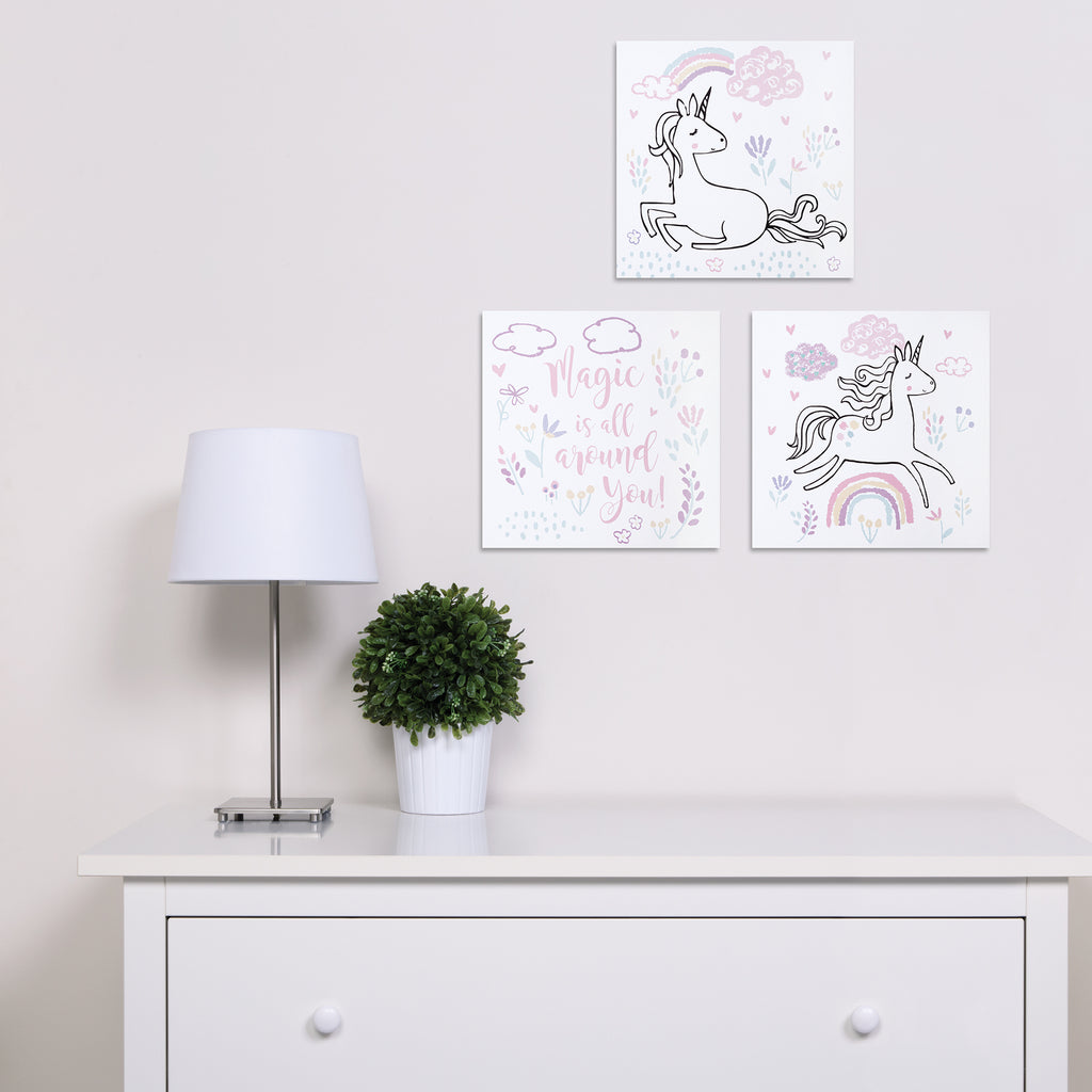 Magical Unicorn Canvas Wall Art 3 Pack