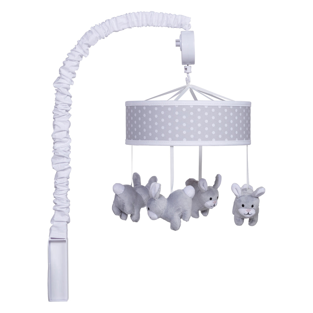 Gray Bunny Musical Crib Mobile