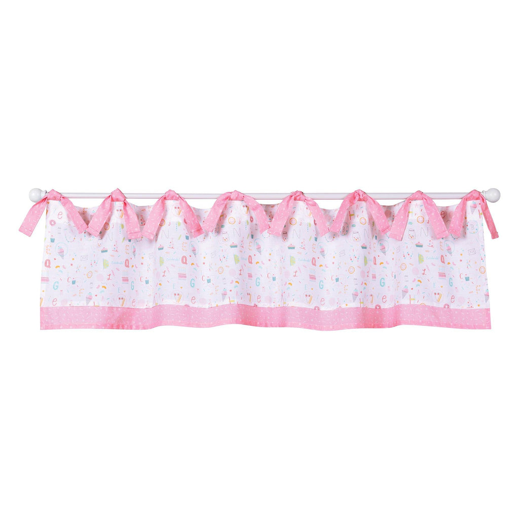 pink and white valance