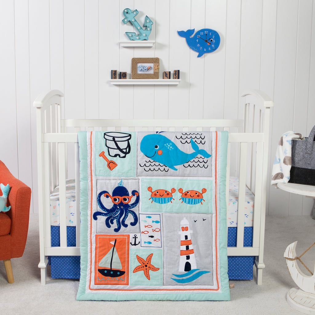 Ocean Pals 3 Piece Crib Bedding Set