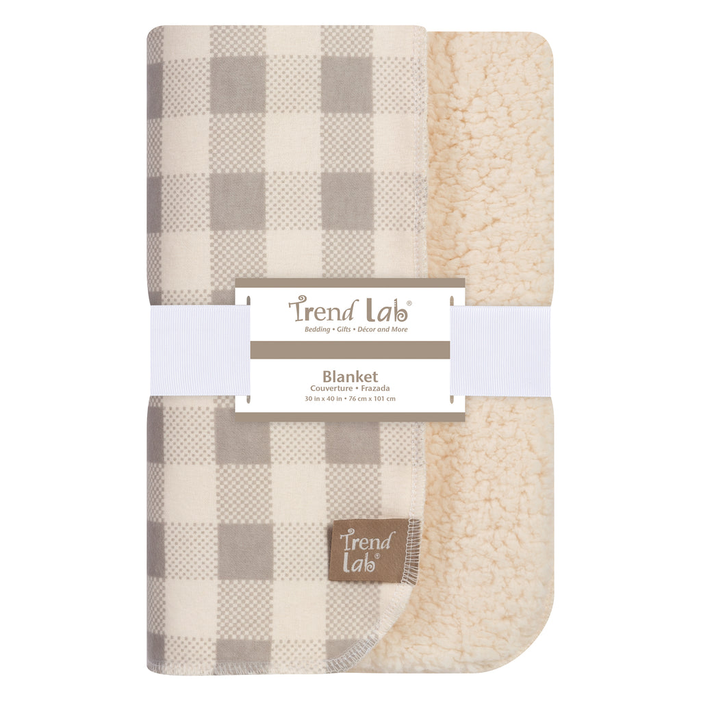 Gray and Cream Buffalo Check Flannel and Faux Shearling Blanket