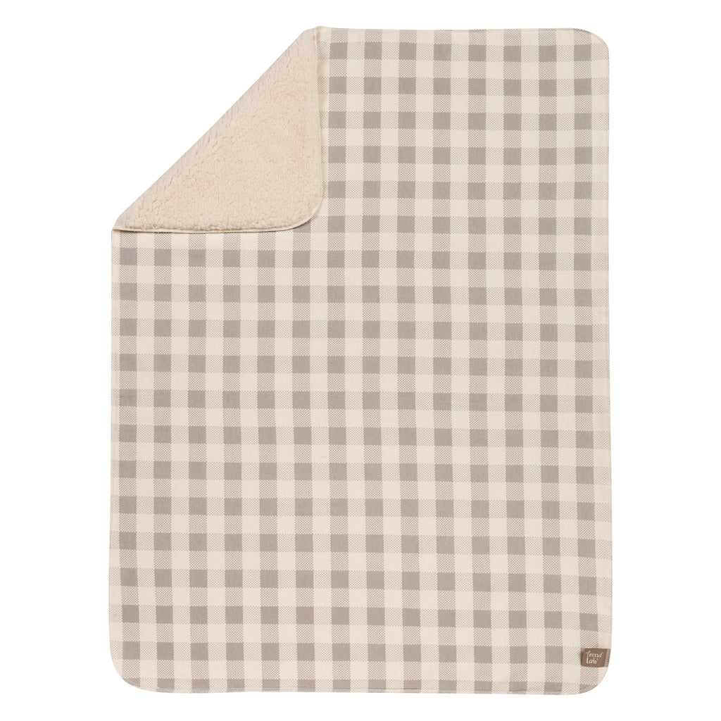 Gray and Cream Buffalo Check Flannel and Faux Shearling Blanket Trend Lab, LLC