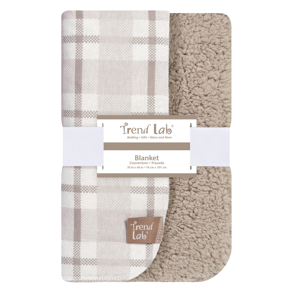Gray and White Plaid Flannel and Faux Shearling Blanket Trend Lab, LLC