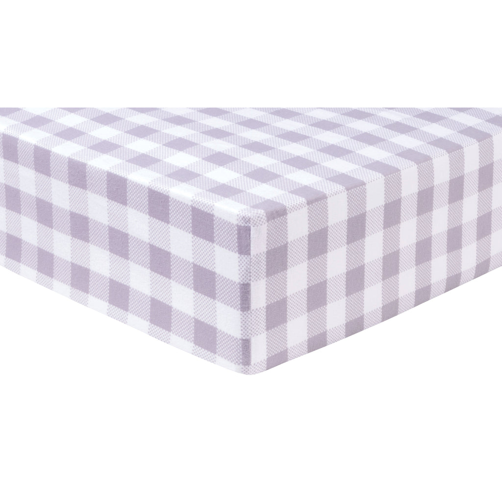Gray and White Buffalo Check Deluxe Flannel Fitted Crib Sheet