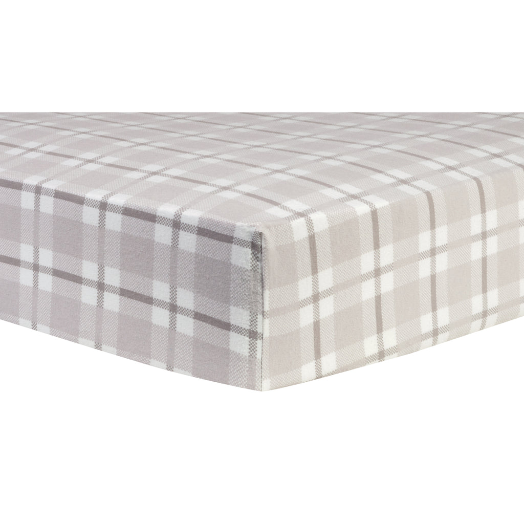 Gray and White Plaid Deluxe Flannel Fitted Crib Sheet Trend Lab, LLC